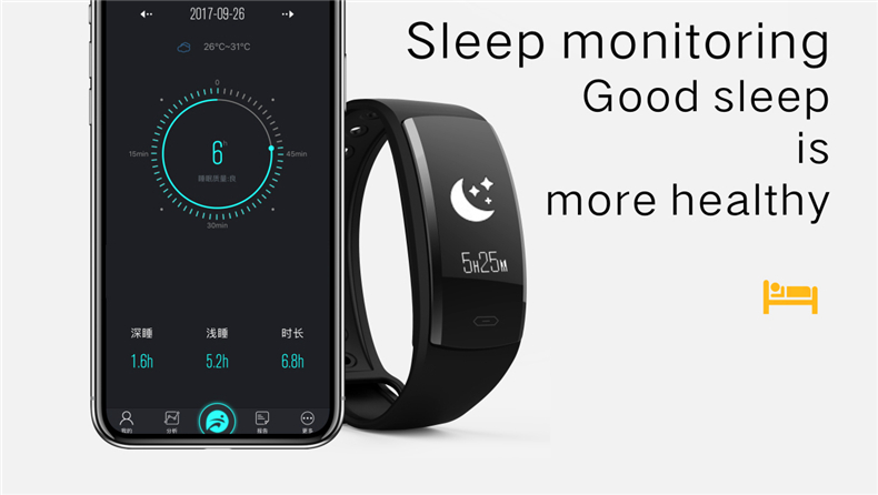 QS90 Smart bracelet Weather Heart Rate monitoer Blood Pressure GPS trajectory Waterproof fitness Tracker watch for Android IOS