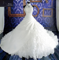 Romantic Princess A Line Wedding Dresses High Neck Applique Ruffle Bridal Gowns with Royal Train White/Ivory Custom