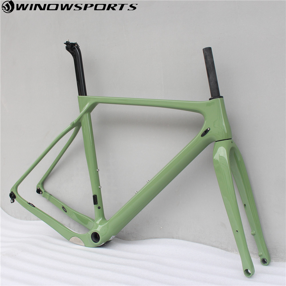 Carbon Gravel Bicycle Frame Cyclocross Disc Frame 700C Carbon Bike Frame, Di2 Carbon Cyclocross Frame  Thru Axle 142mm