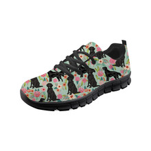 Thikin Women Rottweiler Floral Dog Sneakers Animals Casual Flat Shoes Ladies Breathable Mesh Woman Walking Zapatos Mujer