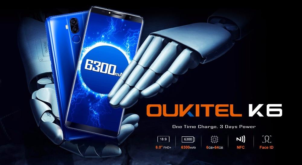 "HTB15i8Yh3fH8KJjy1zcq6ATzpXaq - Original Oukitel K6 Face ID Smartphone 6300mAh 6.0"" 18:9 FHD+ MTK6763 6GB RAM 64GB ROM 5V/3A Quick Charge 4 Cameras Mobile Phone"