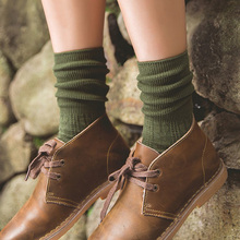 Фотография Thick Socks for Women Colorful Cotton Warm Autumn Winter Thermal Ladies Womens Socks Wine Red Long Harajuku Loose Boot Socks