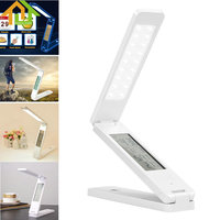 LED Desk Lamps Rechargable Dimmable Foldable Reading Table Lamp Light Touch Control Calendar Alarm Clock Temperature Lamp