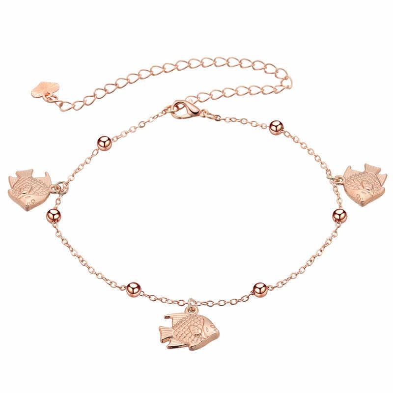 QIAMNI セクシーな素敵な魚手錠鐘カニ願うアンクレットブレスレット脚チェーン女性の夏のビーチジュエリーの誕生日プレゼント