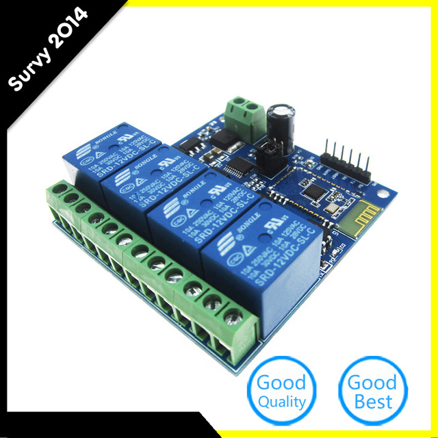 US $8 72 5% OFF|12V/10A 4 Channel Bluetooth Relay Module Mobile APP Remote  Control Switch-in Integrated Circuits from Electronic Components & Supplies