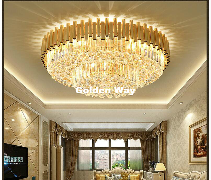 Free Shipping Newly Round Golden Crystal Ceiling Lamp Modern Nordic Ceiling Light LED Lighting Lamp Flush Mount Guaranteed 100%