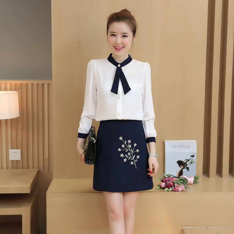 New 2017 Summer Womenu0026#39;S Clothing Set Chiffon Blouse Bodycon Skirt Embroidery Floral Two Piece ...