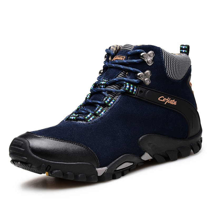Autumn Winter High Top Genuine Leather Outdoor Sport hiking Shoes For Men Plush Warm Winter hiking Sneakers Men yin qi shi man winter outdoor shoes hiking camping trip high top hiking boots cow leather durable female plush warm outdoor boot