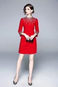 Image 3 - גברת מילאנו 2020 נשים O צוואר 3/4 שרוולי חרוזים Rhinstones אלגנטי גבוהה רחוב אופנה מסלול מעצב קצר שמלות
