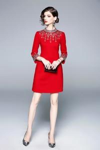 Image 3 - 女性ミラノ 2020 女性の o ネック 3/4 スリーブビーズ rhinstones エレガントなハイストリートファッションデザイナー滑走路ショートドレス