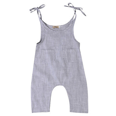 Newborn Toddler Baby Boys Girls   Romper   Solid Sleeveless Gray Cute Strap   Rompers   Boy Girl Clothing Jumpsuit Outfit Clothes