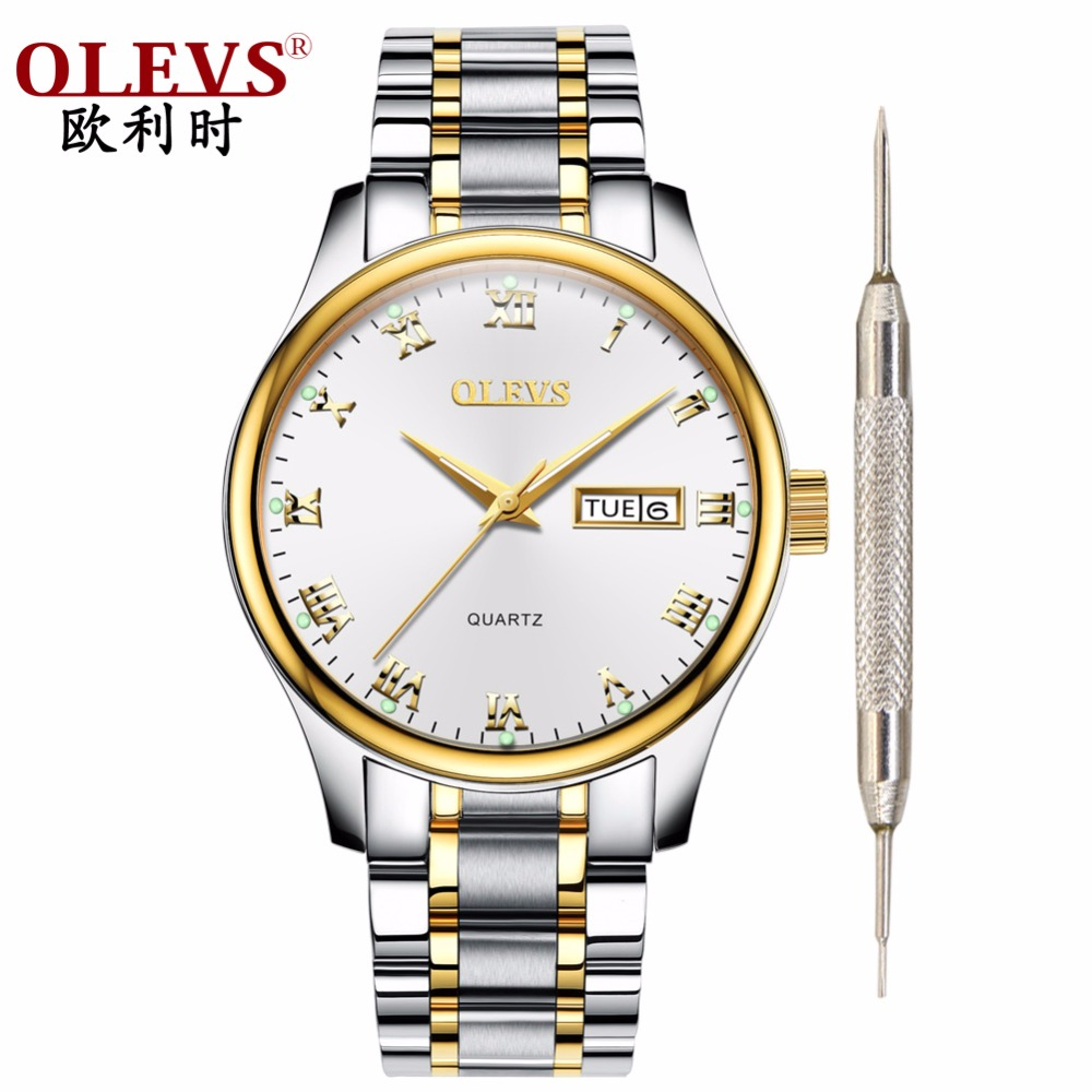 Olevs Watch Men Waterproof Quartz Steel Mens Watches Top Brand Luxury Clock With Date Week Business Wristwatch Leather Watch