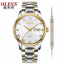 Olevs watch men Waterproof Quartz Steel Mens watches Top brand luxury Clock with date week Business Wristwatch Leather watch цена и фото
