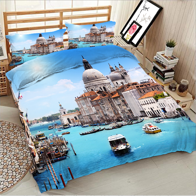 Floating city 3d effect photo bed linen can be customized photo patternFloating city 3d effect photo bed linen can be customized photo pattern