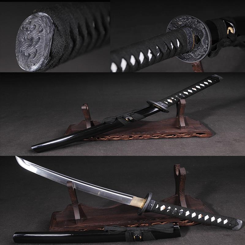 Japanese handmade short katana Full Tang 1065 steel Alloy fittings samurai sword collection Samurai style
