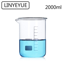 LINYEYUE 2000mL Glass Beaker Borosilicate Glass Measuring Cup high temperature resistance Laboratory Chemistry Equipment linyeyue 2000ml glass beaker borosilicate glass measuring cup high temperature resistance laboratory chemistry equipment