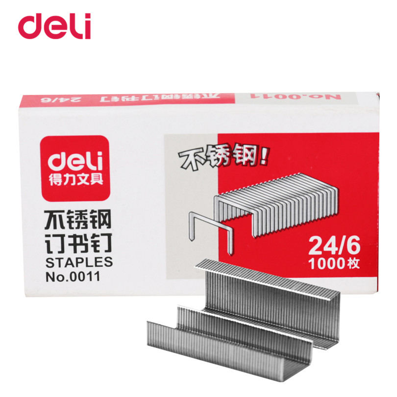 Deli 1000pc/pack Standard Silver Point Staples Office Bending Supplies Size 24/6 Free Shipping School Metal Hot Sale Staples