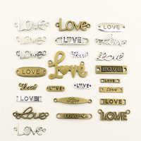 10 pçs encantos para fazer jóias amor texto tag conector acessórios peças criativo artesanal presentes de aniversário