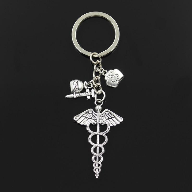 Syringe Stethoscope Keychains Key Chain Keyring Doctor Nurse Physicians Medical Graduation Men Car Keychain Gift Jewelry