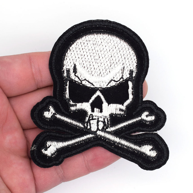 2pcs flag skull patches pirate jolly roger embroidered small 3d army