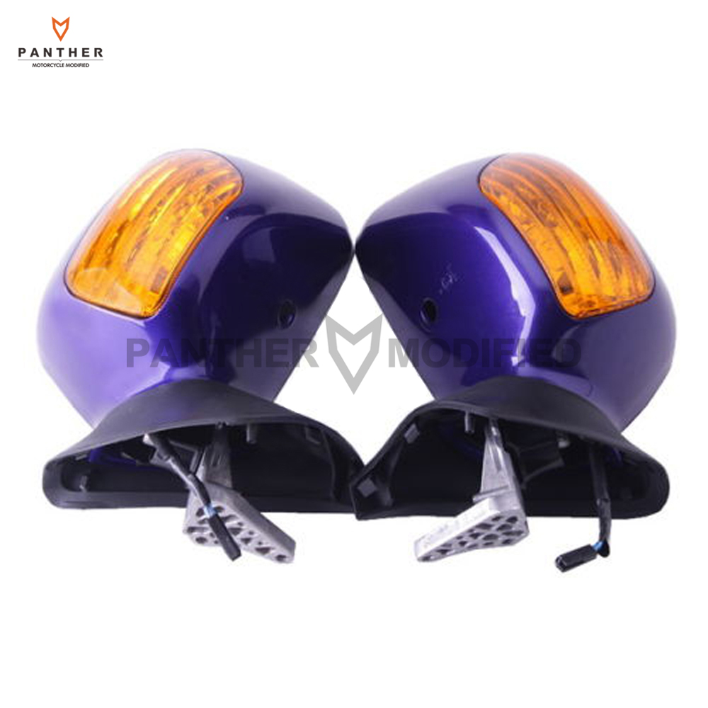 Purple Motorcycle Side Rear View Mirror with Turn Signals Light Case for Honda Goldwing GL1800 2001-2011 2 pcs motorcycle front floating brake disc rotor for honda cbr1000rr cbr1000 2006 2007 2008 2009 2010 2011 12 cbr 1000 rr 1000rr