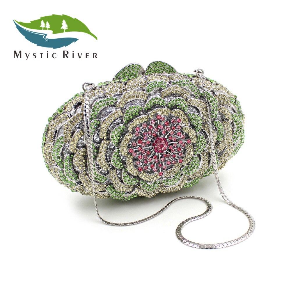 Mystic River Nueva llegada Mujeres Flor de Cristal de Noche Bolsos de Las Señora