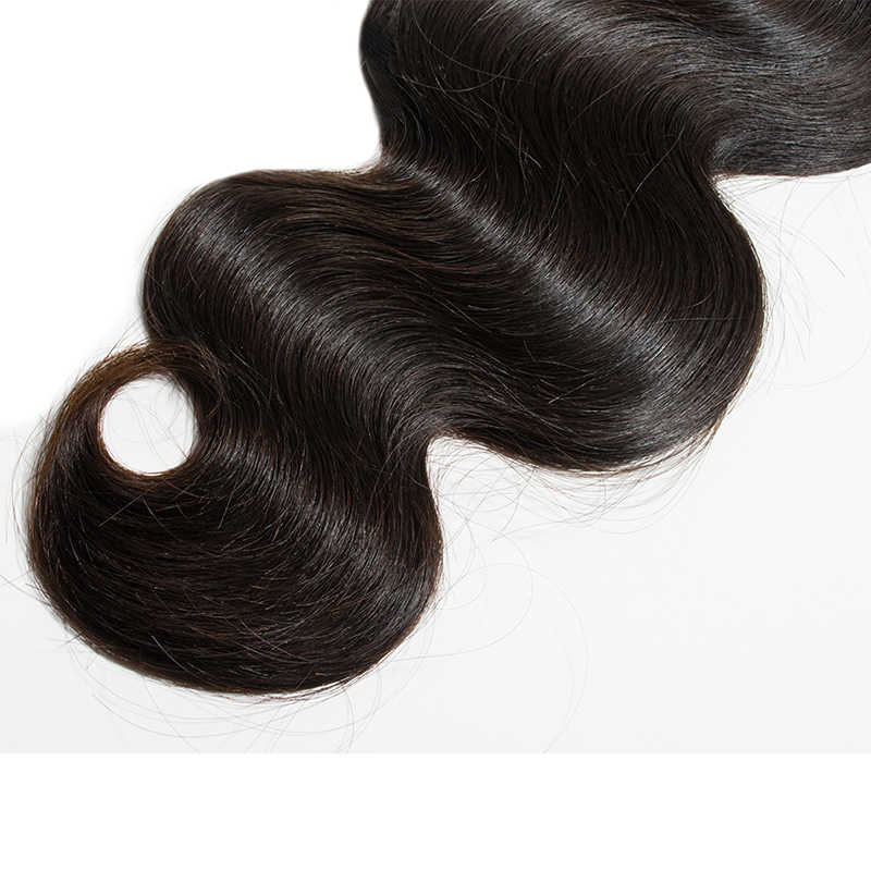 Малайзии тело волна 3 Связки с закрытием Yavida человеческий волос Девы не Реми естественный Цвет пряди для наращивания волос с закрытием