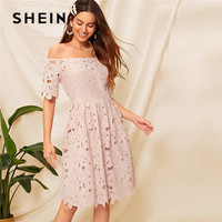 SHEIN Pink Elegant Off Shoulder Fit And Flare Guipure Lace Summer Dress Woman Party Night Romantic High Waist Lady Midi Dress