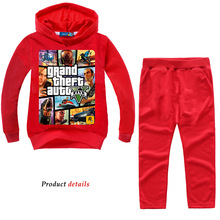 DLF 2-12 New Year Game Cartoon Pattern Gta 5 Boys Girls Childrens Clothing Set Fnaf Clothes Tracksuit Hoodies Costume Sportsuit