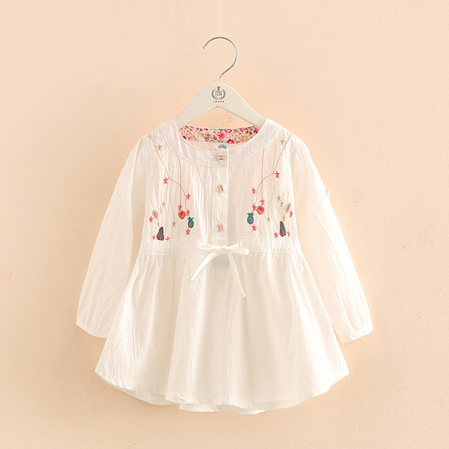 91749d8ef White Flower Embroidery Outfits Top Dress Blouse Kids Children Baby ...