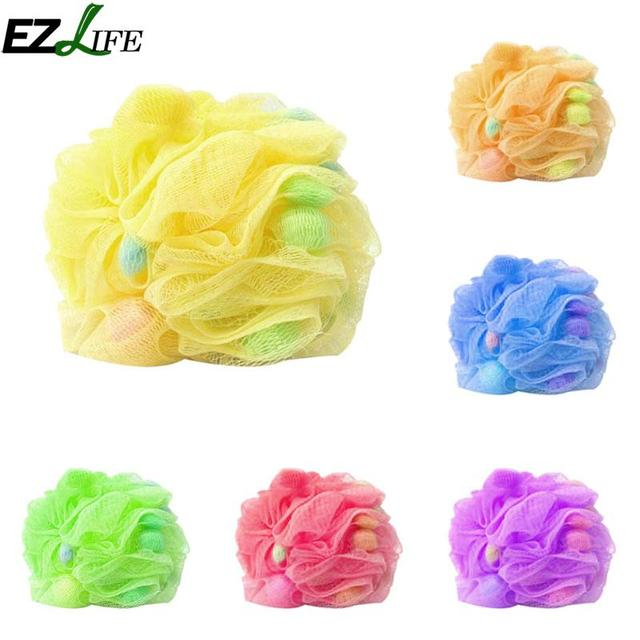 EZLIFE 100% Hygienic Environmental Soft Body Cleaning Bubbles Sponge Bath  Ball Nylon Scrubber Loofah Shower