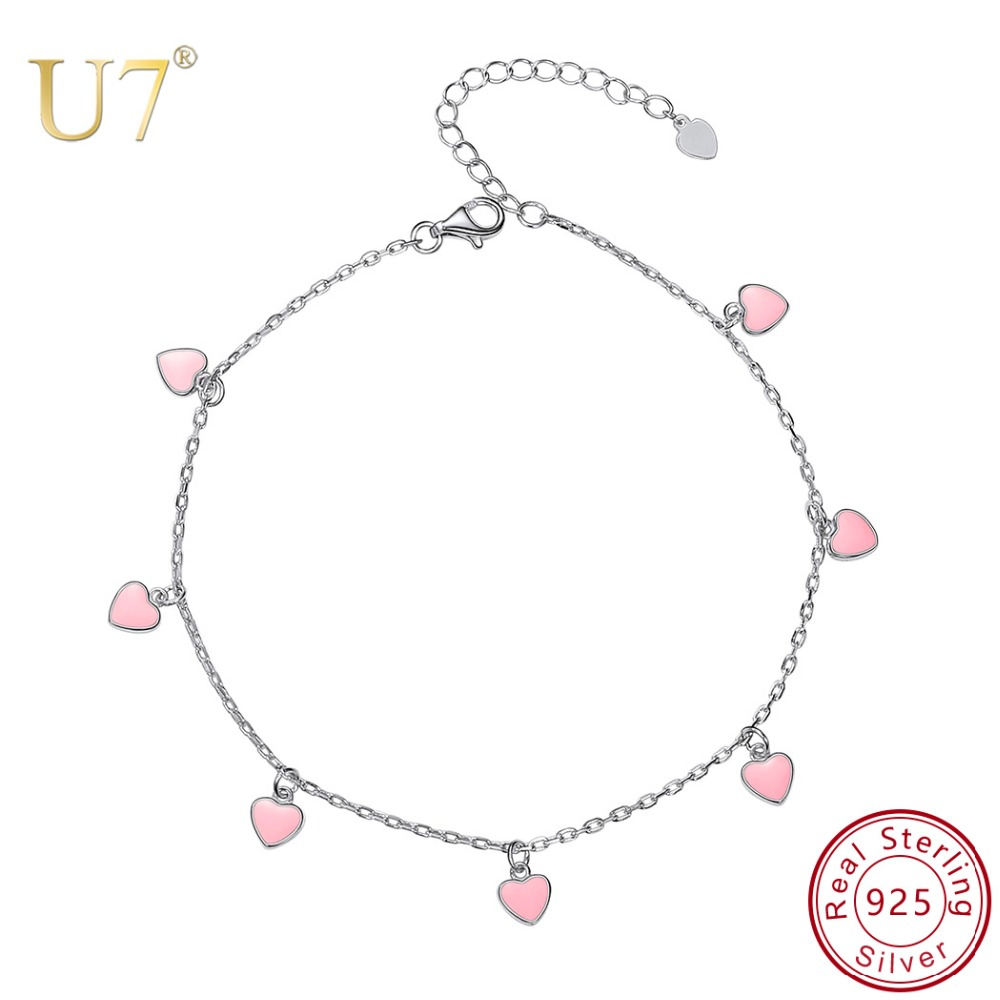 U7 925 Sterling Silver Summer Cute Candy Color Ankle Pink Enamel Heart Anklets For Women Leg Bracelet Jewelry Foot Chain A331 17km bohemian wave anklets for women vintage multi layer bead anklet leg bracelet sandals boho diy summer charm jewelry