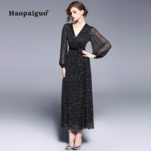 Sequin Sexy Party Dress Club Wear for Women V-neck Long Sleeve Casual Long Dresses Women Print Big Swing Autumn Dress Plus Size casual long sleeve geometric print plus size dress for women