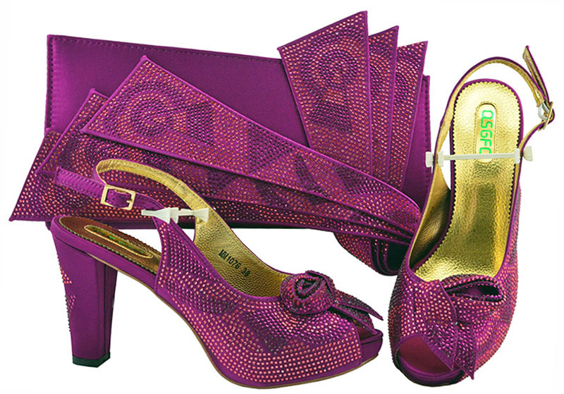 цена на Italian Design Shoes With Matching Bags African 10 cm High Heel Women Shoes and Bags Set Fashion Nigeria Shoes For Party MM1076