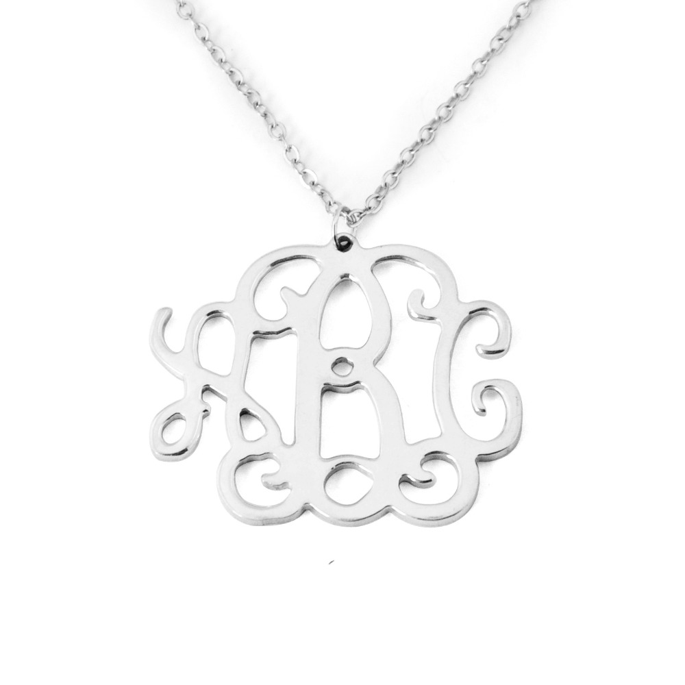 Custom alloy monogram necklacemonogram name necklaceinitials custom alloy monogram necklacemonogram name necklaceinitials necklace personalized jewelry chain in the middle in pendant necklaces from jewelry aloadofball Choice Image