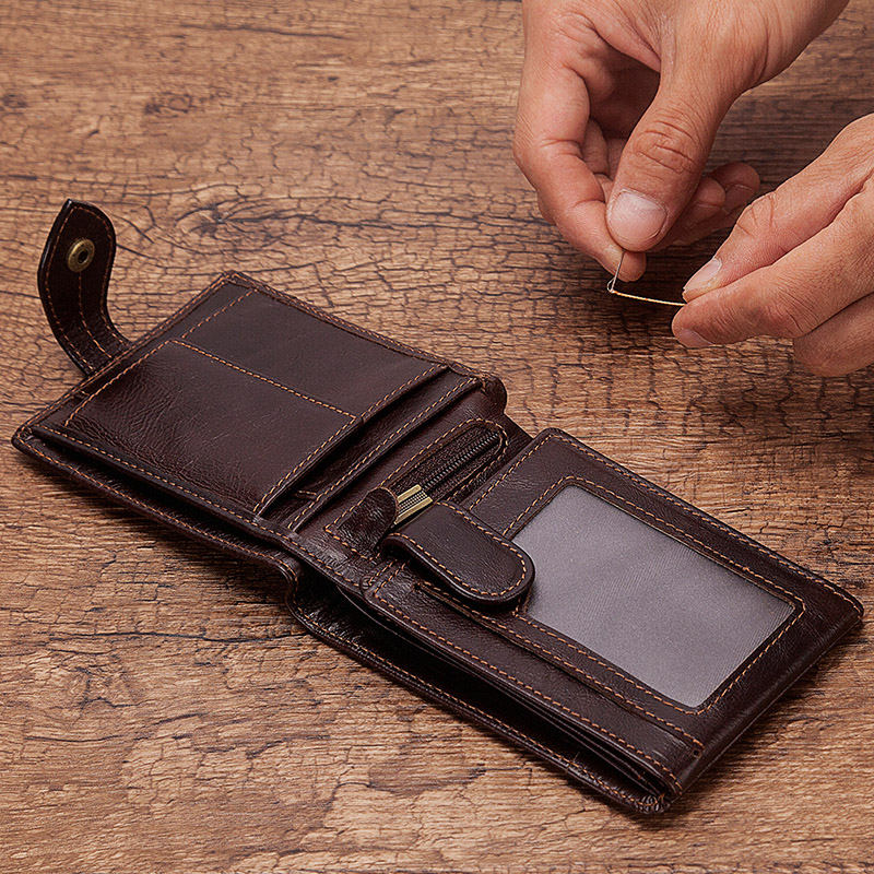 KAVIS 100% Genuine Leather Wallet Men Male Coin Purse Mini P
