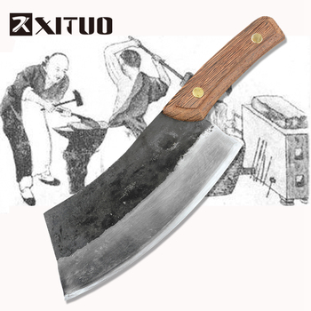 Cuchillo de cocina de acero al carbono hecho a mano XITUO, cuchillo para cortar carne + arte + hueso de Corte + cuchillo de chef + accesorios de cocina