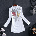 Almoda 2016 Slpring Women's Geometric Patterns Long-sleeved Cotton Shirts Embroidered Pattern Faux Pocket Beautiful Long Shirt