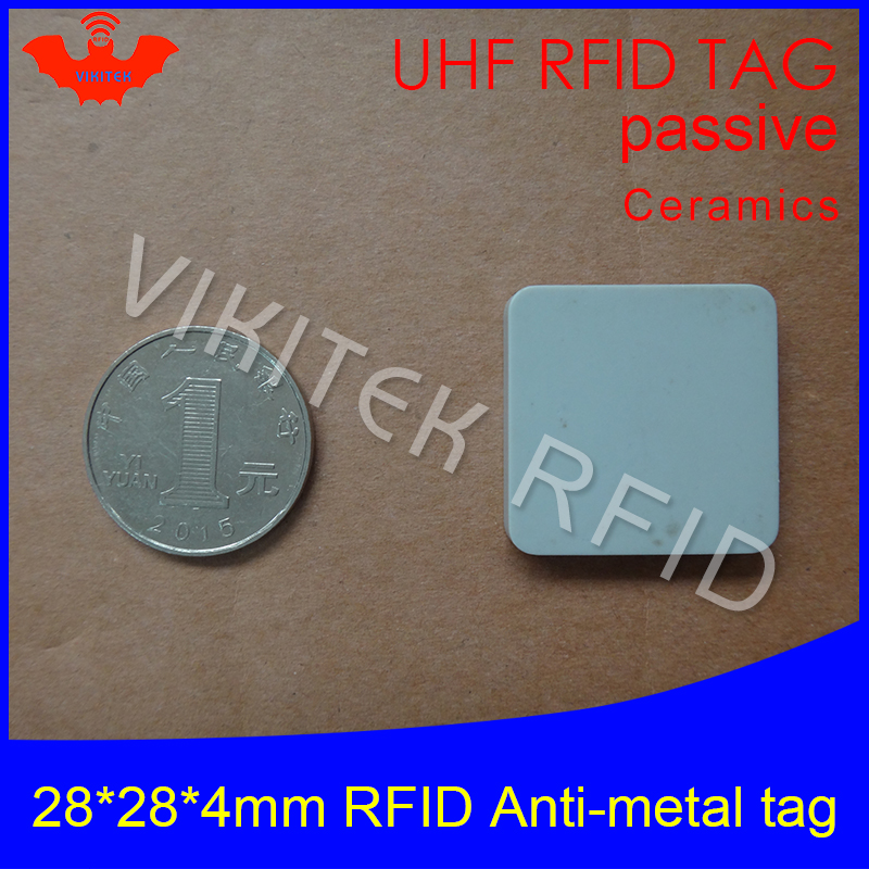 UHF RFID metal tag 915m 868m Alien Higgs3 EPCC1G2 6C casting fixture tool 28*28*4mm square Ceramics smart card passive RFID tags 1000pcs long range rfid plastic seal tag alien h3 used for waste bin management and gas jar management