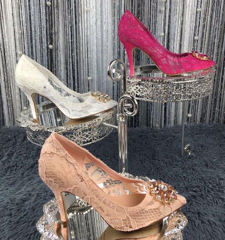 12 colors 9CM heel woman pointed toe flower diamonds lace shoes sexy lace dress bride diamonds