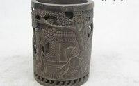"4 ""Chinese Folk Bronze Puro excelente Realista Sorte jogar xadrez escova pot|pot|pot brush  -"