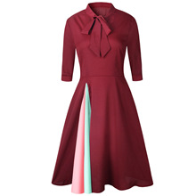 Vintage Sexy Patchwork Black Red Summer Dress Women 2018 Spring Half Sleeve Bow Tie Elegant Ladies Bodycon Wrap Dresses Clothes