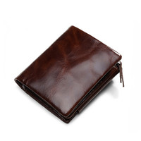 Mens Genuine Leather Wallet Men's Real Soft Leather Short Wallet Vintage Hasp Purse Male Casual Card Coin Photo Holder Trifold