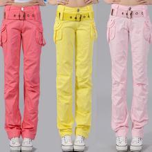 Весна и лето новые яркие цвета комбинезоны свободные женские повседневные брюки прямые брюки