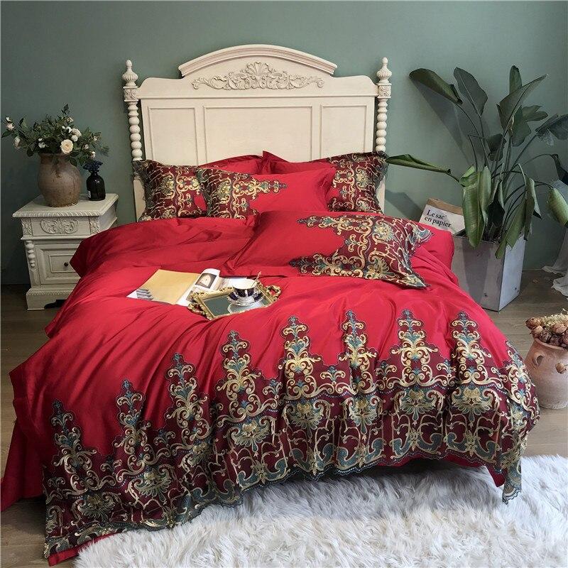 Rouge bleu luxe 100 S coton égyptien Royal Court mariage literie ensemble doré dentelle housse de couette linge de lit draps taies d'oreiller