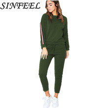 SINFEEL Autumn Winter Women 2 Piece Set Top and Pants Striped Woman Sweatshirt Drawstring Tracksuit