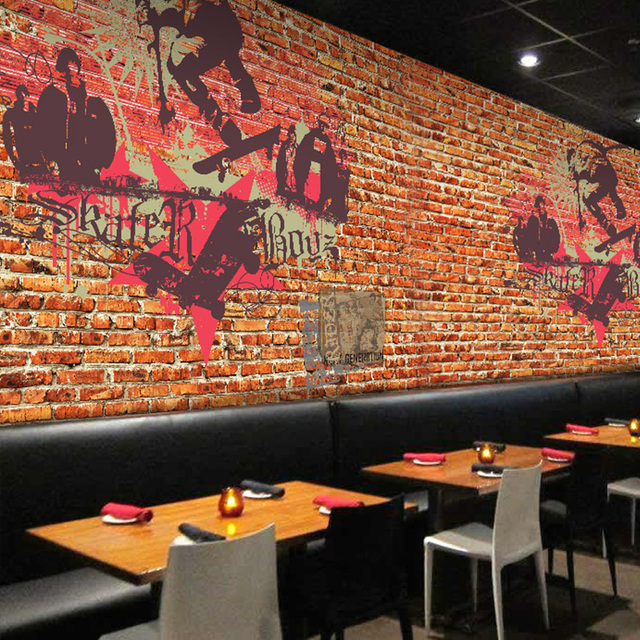 Custom Photo Wallpaper Graffiti Art Red Brick Wall Pattern Nostalgic Street Style Lobby