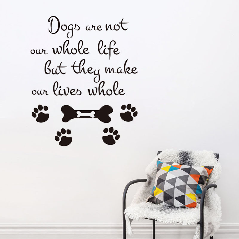 Dogs Are Not Quote Wall Sticker Pet Shop Decor Dog Paw Decals For Kids Room Decor Living ...