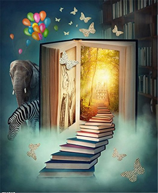 Fantasy Books Animal Tales Photography Backdrop Bookshelf Printed Forest Butterflies Back To School Themed Kids Photo