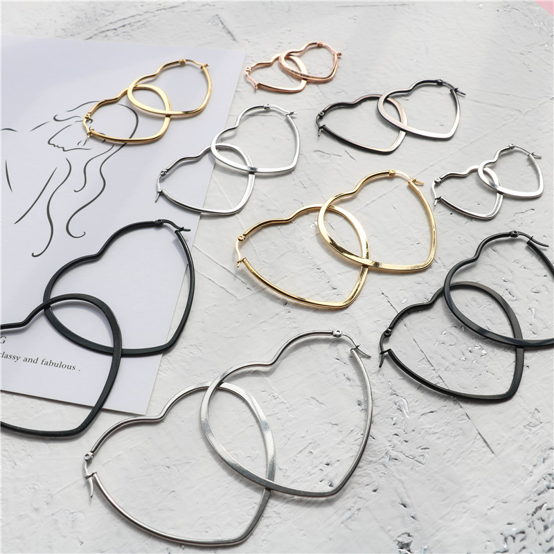 Fashion Heart Stainless Steel Big Hoop Earrings For Women 30 To 60mm Statement Simple Party Girl Gift Jewelry